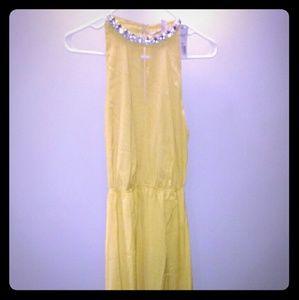 Forever 21 maxi yellow satin jewel dress
